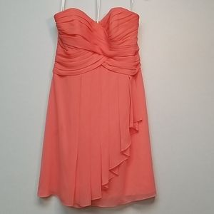 Coral Sweatheart Neck Knee-Length Formal Dress